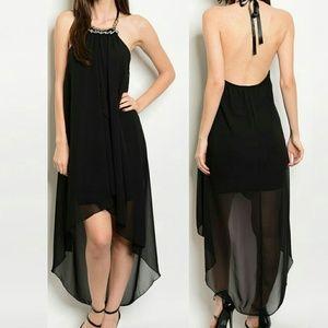 Dresses & Skirts - High Lo Tie Neck Embellished Halter Backless Dress